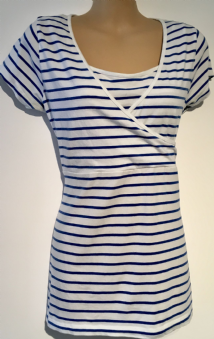 BLOOMING MARVELLOUS WHITE BLUE STRIPE SHORT SLEEVE TUNIC TOP SIZE M 12